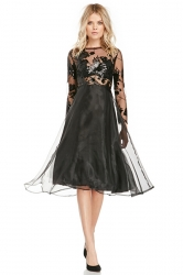 Black Womens See Through Embroidered Patchwork Cocktail Dress