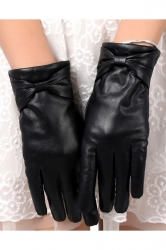 Black Sexy Ladies Thick Lined Bow Leather Winter Short Gloves