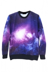 Purple Fashion Womens Jumper Crew Neck Galaxy Printed Sweatshirt