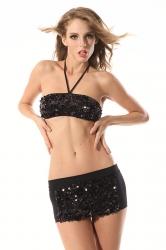 Black Pretty Ladies Halter Sequin Lingerie Bra Panty Set