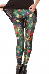 Womens Christmas Tree Colorful Ball Printed Designer Leggings
