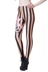 Orange Modern Womens Cartoon Tiger Printed Striped Leggings