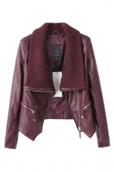Ruby Ladies Diagonal Zipper Sweater Collar Motorcycle Jacket