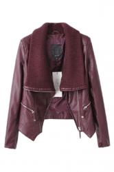Ruby Ladies Diagonal Zipper Sweater Collar Motorcycle Jacket
