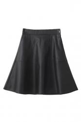 Black Trendy Womens Plain Pleated Leather Skirt