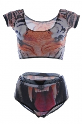 Orange Fashion Ladies Short Sleeve Bottom Tiger Printed Tankini