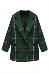 Green Cool Womens Turndown Collar Plaid Warm Tweed Coat