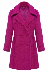 Rose Red Stylish Ladies Plain Turndown Collar Pea Long Tweed Coat