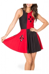 Red Fancy Womens Sleeveless Color Block Harley Quinn Skater Dress