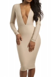 Beige Sexy Womens Deep V Long Sleeve Plain Bodycon Dress