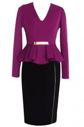 Black Ladies Long Sleeves V Neck Slim Elegant Peplum Dress