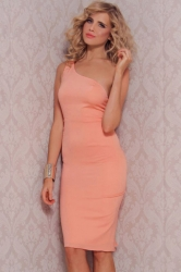 Pink Fashion Womens Plain Ruffle Back One Shoulder Midi Dress