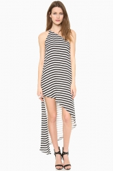 Gray Ladies Stripe Printed Backless Irregular One Shoulder Dress