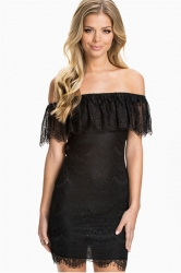 Black Womens Off the Shoulder Sexy Lace Ruffle Backless Dress