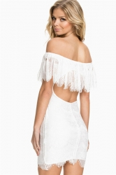White Womens Off the Shoulder Sexy Lace Ruffle Backless Dress