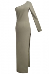 Khaki One Shoulder Sexy Slit Womens Elegant Plain Maxi Dress