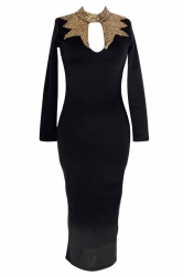 Black Elegant Sexy Womens Sequins High Neck Long Sleeves Dress