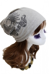 Gray Womens Skull Printed Cool Lined Hat