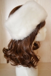 White Faux Fur Headband Cossack Fashion Womens Hat