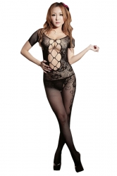 Lingerie Cut Out Mesh Sleeve Bare-breasted Open Crotch Teddy