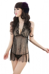 Black Ladies Halter Lace Sheer Fringe Deep V Babydoll