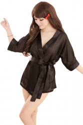 Black Sexy Womens Sheer Wrap Erotic Lingerie Babydoll