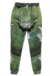 Green Ladies 3D Horror Snake Printed Casual Sweatpants