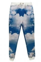 Blue 3D Clouds Printed Fashion Jogging Sweatpants