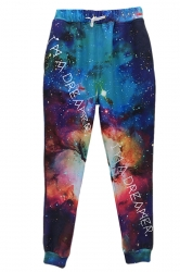 Blue Womens Loose Retro Galaxy Printed Sweatpants