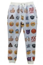 White Womens Cute Emoji Printed Loose Sweatpants