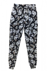 Black Ladies Husky Printed Cool Casual Sweatpants
