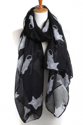 Black Stylish Womens Cat Kitten Voile Animal Print Scarf