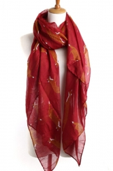 Ruby Chic Ladies Cartoon Fox Voile Animal Print Scarf