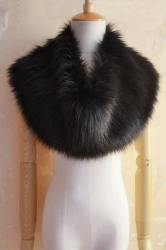 Black Warm Ladies Faux Fur Plain Scarf