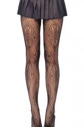 Black Trendy Ladies Jacquard Weave Sheer Lace Tights