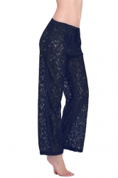 Black Sexy Ladies Lace Sheer Cut Out Beach Pants Sarong