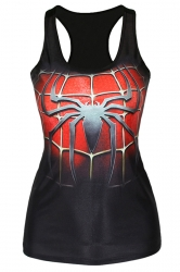 Black Fashion Ladies Spider Man 3D Printed Tank Top