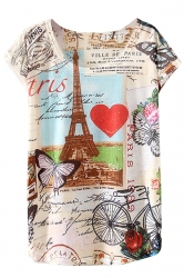 Crew Neck Short Sleeve Eiffel Tower Postcard Printed T-shirt