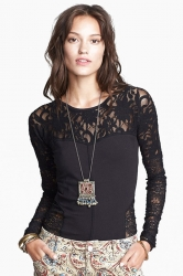 Black Lace Patchwork Unique Sexy Womens Sheer Top