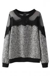 Gray Trendy Womens Crew Neck Sweatshirt Lace Mesh Patchwork Sheer Top