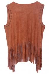 Khaki Modern Ladies Plain Fringe Suede Rivet Vest