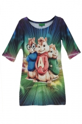 Ladies Alvin and the Chipmunks Printed Crew Neck Bodycon Dress
