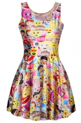 Yellow Pleated Womens Funny Emoji Printed Skater Dress