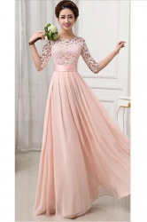 Womens Lace Chiffon Pleated Half Sleeve Maxi Evening Dress Pink