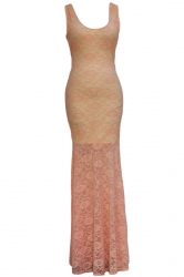 Pink Sexy Womens Backless Lace Cut Out Sleeveless Maxi Prom Dress