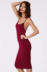 Ruby Sexy Womens Spaghetti Strap Backless Sleeveless Midi Dress