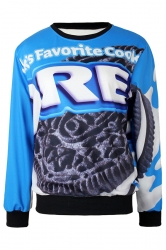 Blue Ladies Pullover Crew Neck Oreo Cookies Printed Sweatshirt