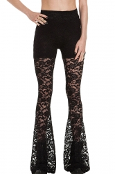 Black Slim Sexy Ladies Lace Flare Fancy Leggings