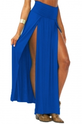 Blue Sexy Womens High Waisted Slit Maxi Skirt
