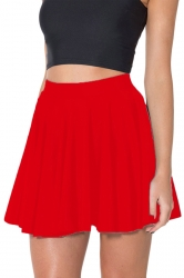 Red Womens Plain Sexy Fashion Cute Pleated Skirt